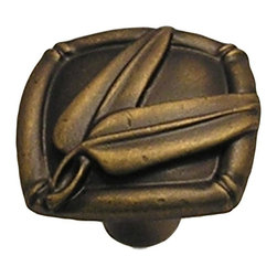 Anne At Home - Bamboo Leaf Knob (Set of 10) (Verdigris) - Finish: Verdigris. Hand cast and finished. Made in the USA. Pewter with brass insert. Collection: Bamboo. 1.5 in. L x 1.5 in. W x 1.5 in. H