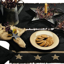 India Home Fashions - Burlap Table Runner, Black, 13x36, Burlap Star - This Burlap Table Runner is available in a 13x36 or 13x54 and is the perfect way to complete any table setting. Natural Burlap looks great with any type of home decor and also coordinates with the new Burlap Star and Burlap Check home decor lines from India Home Fashions. Perfect for smaller tables.