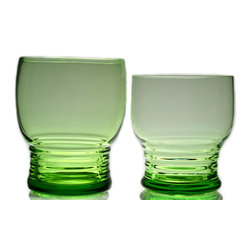 Lavish Shoestring - Consigned 6 Green Liquer Blown Glasses, Vintage European, 1930s - This is a vintage one-of-a-kind item.