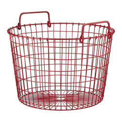 Red Round Wire Basket - This red basket is the perfect accessory for the holidays. Store extra blankets, pillows, games and even firewood in this nifty, festive organizer.