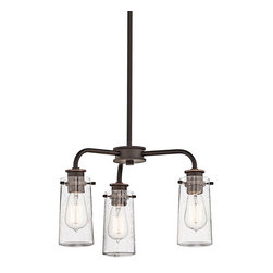 Ballard Designs - Ellison 3 Light Chandelier - Part vintage industrial. Part old-fashioned charm. Inspired by antique jars, clear seedy glass shades expose the filament bulbs within for a warm, welcome glow. Hang our 3-Light Chandelier over a smaller table, counter or in a hallway.Ellison 3-Light Chandelier features:Works with a variety of d&#233or. Crafted of metal. Pair with our Vintage Light Bulb LI059 (sold separately).