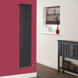 Hudson Reed - Parallel High Gloss Black Single Panel Designer Radiator 63 x 13.5 - Part of the exciting Parallel range, the Luxury High Gloss Black Vertical Designer Radiator 63 x 13.5 combines designer looks and expert manufacturing for a flawless performance. Vertical mounting means this compact radiator is not just space saving but also a step away from conventional radiator designs. Key features of this luxury radiator are its flat panel finish and a hint of the traditional in its column array. As well as its outstanding looks this radiator delivers a fantastic heat output of 1,520 Watts (5,182 BTUs).The Parallel - Luxury High Gloss Black Vertical Designer Radiator is compatible with hot water central heating systems and it will plumb directly into your existing pipe work. This product comes complete with wall mounting brackets and fixing kit. Parallel Single Panel Designer Radiator 63 x 13.5 Details   Dimensions: (H x W x D) 63 (1600mm) x 13.5 (342mm) x 3.25 (82mm) Output: 1,520 Watts (5,182 BTUs) Max Projection: 4.5 (115mm) Pipe centres with valves (Approx): 17.75 (450mm) Wall to centre of tapping: 2.5 (65mm) Number of columns: 9 - 0.9 (22mm) thickness Fixing Pack Included Designed to be plumbed into your central heating system Suitable for bathroom, cloakroom, kitchen etc. Please note: Modern angled radiator valves included  Please Note: Our radiators are designed for forced circulation closed loop systems only. They are not compatible with open loop, gravity hot water or steam systems.