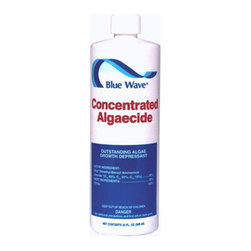 Blue Wave - Blue Wave Concentrated Algaecide 1 Qt - 4 Pack - Concentrated algaecide cost-effective algae control! This super concentrated algaecide goes a long way to killing and preventing all types of algae in your swimming pool. Non-metalli,c non-staining formula is great for all pool types and will not discolor hair. A great algaecide for weekly maintenance. Dosage: 1. 3 oz. Per 10,000 gallons. Buy 4 quarts and save!