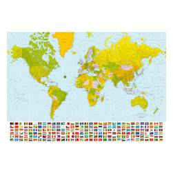 Map Of The World Wall Mural - A large map of the world mural for a classic and smart look in decor. This colorful map is enhanced by a list of the flags of the world!