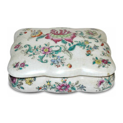 None - Floral Scallop-edged Porcelain Box - This floral patterned porcelain trinket box is styled with elegant scallop edges. Keep tiny treasures safe in this lidded box.