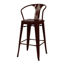 """Used Paris Metro Bar Stools in Black - A Pair - A set of 2 Parisian style Metro bar stools in black finish. These Parisian cafe inspired barstools have industrial character and timeless appeal. These stools will be a stylish addition to a kitchen, breakfast counter, or bar.     Seat is 30"""" high."""