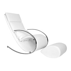 Whiteline Imports - Whiteline Imports Chloe Rocker Chair and Ottoman in White Leatherette - Rocker chair and ottoman in white leatherette belongs to Chloe collection by Whiteline