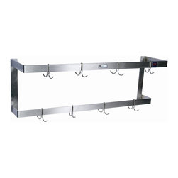 John Boos - Wall Mount Double Bar Pot Rack (72 W x 3.19 D - Choose Size: 72 W x 3.19 D x 2 H (35 lbs.)Wall mounted. Warranty: One year against manufacturing defects. Made from stainless steel. Rectangular shape. Polish satin color. Includes hooks. Made in USA. Welded set-up. 2 in. x 0.18 in. flat bar