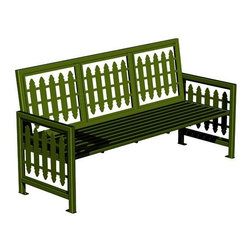 Paris Equipment Victorian Steel Commercial Park Bench - The Victorian Park Bench stands out from the crowd featuring laser-cut backrest and side panels with a classic pattern. Made from solid metal this bench nevertheless offers a comfortable bench seat and the metal build is meant to endure through the harshest weather Mother Nature can offer. Available in your choice of three sizes/styles and a dozen colors you're sure to find a variation ideal for your situation.