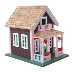 "Home Bazaar - Petoskey ""Lake View"" Cottage Birdhouse - You and your neighborhood birds will love the iconic summer cottage style of this birdhouse. Wrens, finches and chickadees will rest inside or perch on the rooftop while you delight in the charm of their new home. And the back wall removes easily for regular cleaning."