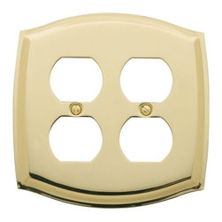 Baldwin Hardware - Colonial 2 Outlet Wall Plate in Polished Brass (4781.030.CD) - As remarkably expressive as they are functional. These brass wall plates by Baldwin feature soft curves and defined angles. Whether in an Old Victorian or a stylish downtown co-op, the solid forged brass plates will complement your home's style.