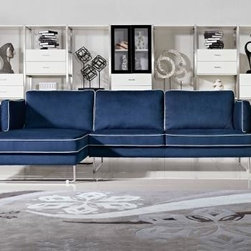 Colorful Sofas - Modern Blue Fabric Sectional Sofa