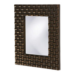 Howard Elliott - Howard Elliott 21114 Justin Bright Copper Mirror - Bright Copper Mirror belongs to Justin Collection by Howard Elliott This Contemporary Mirror features a rectangular frame with a looped basket weave texture. It is colored in a striking copper finish. Mirror (1)
