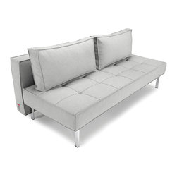 "Innovation USA - ""Innovation USA"" Sly Deluxe Basic Light Grey Sofa Bed - Perfect solution for a living room with small area, the ""Innovation USA"" Sly Deluxe Basic Light Grey Sofa Bed offers a space-saving design that is very functional with the ability of transformation into a full size bed by night. Chrome stainless steel legs add more modernity and style and support the seating ideally. The softness and comfort is provided by its special mattress. Upholstered in soft yet durable fabric in Basic Light Grey finish.    Features:"