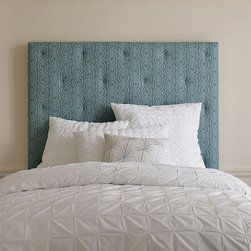 "Allegra Hicks Diamond Tufted Headboard - I love the combination of classic tufting with this contemporary geometric pattern. Allegra Hicks has brought her interpretation of the sea to this fabric, which makes an eye-catching and beautiful headboard that will bring coastal style to your home.  Dimensions: Twin: 40""w x 3""d. Other sizes available. Solid wood frame with upholstery; chocolate-stained solid wood legs. Polyester batting around polyester foam padding, back of headboard covered in muslin."
