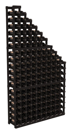 Wine Racks America - Wine Cellar Waterfall Display in Redwood, Black - A beautiful cascading waterfall of wine bottle displays. Create a spectacle of 9 of your favorite vintages. Designed within our modular specifications and to Wine Racks America's superior product standards, you'll be satisfied. We guarantee it.