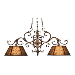 Fine Art Lamps - Villa 1919 Chandelier, 236840ST - Resplendent in rich umber with gold accents, this chandelier gets its inspiration from Edwardian times. It's centered by a fleuron medallion and balanced by a pair of natural mica shades.