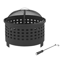 Crosley Furniture - Hudson Basket Weave Firepit in Black - Oversized Bowl for Longer and Warmer Fires. 360 View of Fire. Sturdy Steel Construction. Sturdy Legs. Includes Poker to Keep Fire Stoked. Full Coverage Steel Mesh Lid. Assembly Required. 25 in. L X 25 in. W X 15 in. H (21.8 lbs.)The fun begins when the sun goes down with the Crosley Hudson Firepit.  This deep bowled fire pit holds a generous supply of wood, and the punched lattice pattern vents the fire, keeping it burning bright and warm.   Constructed of steel and finished with a durable powder coat, the Hudson includes a wire mesh spark arrestor and handy fire poker.