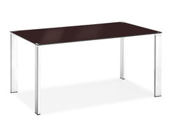 Zuo - Slim Dining Table, Espresso - The Slim Dining Table is a sleek, modern dining table that has a low profile for you dining area.  Despite its low profile, it can still stand out with its simplicity and delicateness.  The painted tempered glass top is available in black, white and espresso while the four chromed steel legs form the base of this contemporary dining table.  No matter what chairs you put around the Slim Dining Table, your dining room set is sure to stand out.