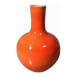 Belle & June - Orange Crackle Globular Vase - Pottery doesn't get fresher than this. This boldly curving porcelain vase pairs the dramatic undulations of the most precious antiques with a wholly modern linear neck. Its stunning color and unique charm will make it the focal point of any room and a vivid addition to eclectic and modern households.
