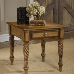 Hillsdale Furniture - Hillsdale Wilshire End Table - 4508-882 - Shop for Tables from Hayneedle.com! This stunning Wilshire End Table is sure to impress you with its beauty and lasting function. A blend of cottage styling and country-accented details this table features a storage drawer with English dovetail construction and a choice of multi-step hand-rubbed finishes. Recommended care: Dust frequently using a clean specifically treated dusting cloth that will attract and hold dust particles. Do not use wax or abrasive cleaners as they may damage the finish. About Hillsdale FurnitureLocated in Louisville Ky. Hillsdale Furniture is a leader in top-quality affordable bedroom furniture. Since 1994 Hillsdale has combined the talents of nationally recognized designers and globally accredited factories to bring you furniture styling and design from around the globe. Hillsdale combines the best in finishes materials and designs to bring both beauty and value with every piece. The combination of top-quality metal wood stone and leather has given Hillsdale the reputation for leading-edge styling and concepts.