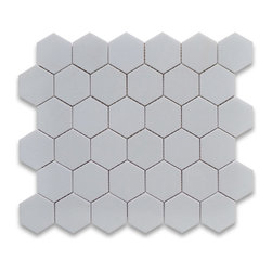 """Stone Center Corp - Thassos White Marble Hexagon Mosaic Tile 2 inch Polished - Thassos white marble 2"""" (from point to point) hexagon pieces mounted on a sturdy mesh tile sheet"""