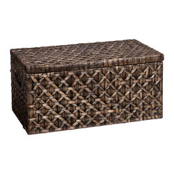 Upton Home - Upton Home Blackwashed Water Hyacinth Storage Trunk - The intricate diamond weave pattern of this blackwashed water hyacinth storage trunk livens up any room with a subtle tropical vibe and rustic appeal. Ideal for storing blankets and other living room accessories