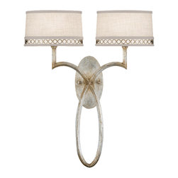 Fine Art Lamps - Allegretto Silver Sconce, 784750ST - Sconce in a platinized silver leaf finish with subtle brown highlights and white textured linen shades with pierced metal gallery in matching silver leaf finish. Also available in a burnished gold leaf finish.
