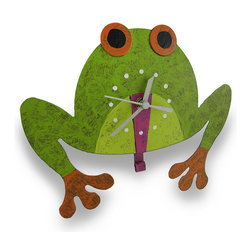 Metal Tree Frog Wall Clock Pendulum Tongue - This fabulous frog wall clock adds a fun accent and a splash of color to your home or office. It is hand crafted from recycled metal materials and measures 8.5 inches (22 cm) tall, 9.5 inches (24 cm) wide, and 2.5 inches (6 cm) deep. The clock features a quartz movement, runs on 1 AAA battery (not included), and has a funny wagging tongue pendulum. A modest hand-painted colorful finish completes the feel of home-style craftwork. This piece makes a unique accent as a useful, decorative timepiece.