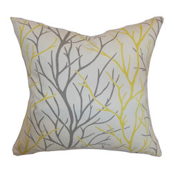 """The Pillow Collection - Fderik Trees Pillow Canary 18"""" x 18"""" - This trees throw pillow is the perfect complement for your couch or bed. This accent pillow features a trees print pattern in canary yellow and gray. This square pillow complements formal and casual settings. This 18"""" pillow is made from a high-quality and durable 100% cotton fabric. Mix and match this decor pillow with solids in complementary hues. Hidden zipper closure for easy cover removal.  Knife edge finish on all four sides.  Reversible pillow with the same fabric on the back side.  Spot cleaning suggested."""