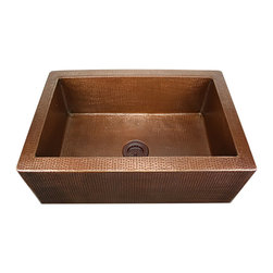 "Nantucket Sinks - Nantucket Sink FS-302010-HLA-IE - 30"" Undermount Copper Apron with Hammered Bowl - Handmade Undermount, hammered Apron and hammered bowl.  Made from 16 Gauge Copper.   Made to fit a standard 3.5"" Drain . Light Antique Finish"