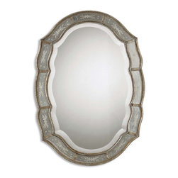 """Grace Feyock - Grace Feyock Fifi Transitional Oval Mirrors X-B 03521 - This Decorative Mirror Features A Narrow Inner And Outer Frame Finished In Heavily Antiqued Gold Leaf With Etched, Antique Mirrors. Center Mirror Has A Generous 1 1/4"""" Bevel. May Be Hung Either Horizontal Or Vertical."""