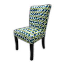 Sole Designs - Julia Cotton Parson Chair (Set of 2) - Give your home a new look with these fashionable chairs. Features: -Set of 2.-Upholstery: 100% Cotton fabric.-Fan Back.-Carnival printed.-Espresso legs.-Straight legs.-Fire retardant foam.-Wipe clean.-Made in the USA.-Frame construction: Hardwood.-Finish: Wood.-Julia collection.-Collection: Julia.-Distressed: No.-Country of Manufacture: United States.Dimensions: -Overall dimensions: 39'' H x 26'' W x 21'' D.-Overall Product Weight: 23 lbs.