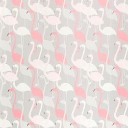 Kimberly Lewis Home - Flamingo Dance Wallpaper, Roll - Even though birds of a feather flock together, your space will definitely stand out with the addition of this playful paper.