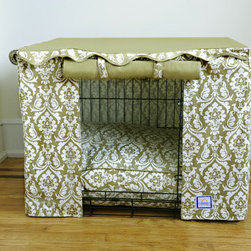 """BowhausNYC - Dog Crate Cover in Damask - Sleep like a princess in our signature printed Damask Dog crate cover has two panels which can be rolled open with Velcro loops for easy access or rolled down for nap time. Whether country cottage or a mod house this desert tan color blends in to every home decor. Available with matching beds and replacement bed case. All covers come with canvas pouch for storage. 100% Cotton Canvas and machine washable. Bed cushion 100% Poly-fill. Each sold separately. Features: -Dog crate cover. -Available in Small, Medium and Large sizes. -Color: Damask. -Material: 100% cotton. -Velcro tabs. -Double doors. -Machine washable. Specifications: -Small dimensions: 21"""" H x 24"""" W x 18 - 19"""" D. -Medium dimensions: 24"""" H x 30"""" W x 21 - 22"""" D. -Large dimensions: 26"""" H x 36"""" W x 24 - 25"""" D."""