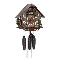 Schneider Cuckoo Clocks - 8-Day 13 in. Black Forest House Cuckoo Clock - 8-day rack strike movement. Moving beer drinker. New wooden dial with roman numerals and hands. Solid wood hand crafted and hand painted four dancing couples. Wooden cuckoo calls and strikes on the half and full hour. 2.22 music on the full hour. Full automatic night shut-off. Stop strike device. Hand painted flowers. Made from wood. Made in Germany. 13 in. W x 8.3 in. D x 12.6 in. H (17.6 lbs.). Care Instructions