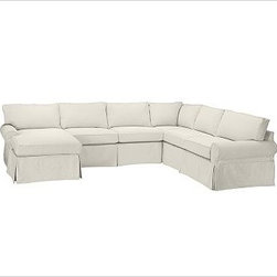 """PB Basic Right 4-Piece Chaise Sectional Slipcover, Brushed Canvas Natural - Designed exclusively for our PB Basic Sectional, these easy-care slipcovers have a casual drape, retain their smooth fit, and remove easily for cleaning. Select """"Living Room"""" in our {{link path='http://potterybarn.icovia.com/icovia.aspx' class='popup' width='900' height='700'}}Room Planner{{/link}} to select a configuration that's ideal for your space. This item can also be customized with your choice of over {{link path='pages/popups/fab_leather_popup.html' class='popup' width='720' height='800'}}80 custom fabrics and colors{{/link}}. For details and pricing on custom fabrics, please call us at 1.800.840.3658 or click Live Help. All slipcover fabrics are hand selected for softness, quality and durability. {{link path='pages/popups/sectionalsheet.html' class='popup' width='720' height='800'}}Left-arm or right-arm configuration{{/link}} is determined by the location of the arm on the love seat as you face the piece. This is a special-order item and ships directly from the manufacturer. To view our order and return policy, click on the Shipping Info tab above."""