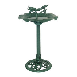 Alpine Fountains - Resin Bird Bath - Easy to move. Sturdy base. Concave bowl. Made from durable resin. 20 in. Dia. x 33 in. H (5.06 lbs.). Assembly InstructionOur birdbath line can help you expand or reinforce your birding environment. Use them as a strategic accent to your patio setting or move it into the garen and create a perfect centerpiece.