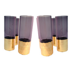 Kulture Bomb - PURPLE GOLD GLASS VOTIVE - These glasses double as a nice decorative bar-ware piece or use them for candles. Coated on the outside so these are safe to use for drinking. Hand wash only.