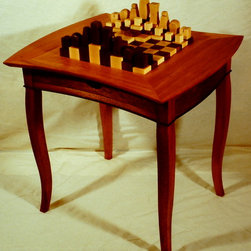 Topographical Chess Table - Chessboard table with drawer.  Built of Honduras Mahogany, Rosewood, Maple, and Walnut.