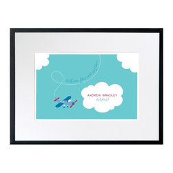 Checkerboard Lifestyle - Tiny Skywriter Personalized Framed Wall Decor - 24W x 18H in. Multicolor - WAL-H - Shop for Framed Art and Posters from Hayneedle.com! Wondrous wings will welcome the new wee one in your life with the Tiny Skywriter Personalized Framed Wall Decor - 24W x 18H in. Whether for a gift or for your own newest addition baby's dreams will take flight with this plane-inspired print. Puffy clouds against a blue sky background make this print pop and you can even personalize it with baby's name and birth date.The Value of Giclee PrintsPronounced jee-clay this method is an advanced printmaking process for creating high-quality fine art reproductions. The attainable quality that giclee printmaking affords makes the reproduction virtually indistinguishable from the original artwork. The result is wide acceptance of giclee prints by galleries museums and private collectors.About CheckerboardCheckerboard was founded in 1989 and evolved out of a love for the printing business but along the way it never lost the charm and genuineness instilled from early on. Detail oriented and determined to continually work towards innovation and originality Checkerboard produces high-quality paper products created with unbeatable craftsmanship. Their commitment to creating an outstanding work environment for their employees along with their commitment to customer satisfaction has made them a frontrunner in their field. Checkerboard strives to be the best for its customers working partners and community.