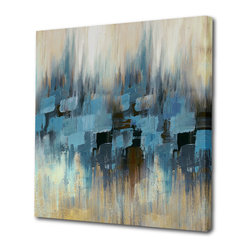 "Begin Home Decor - ""Many Shades Of Blue"" Printed Canvas, Abstract Painting Printed Canvas, 36x36 - Contemporary gallery wrapped canvas 36 inch x 36 inch. This high-quality giclee print captures those colors so vividly, the brushstrokes still look wet."
