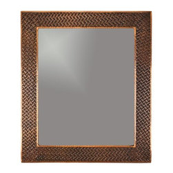 Premier Copper Products - 36 in. Hand Hammered Rectangle Copper Mirror - Configuration: Rectangle. Design: Hammered Copper Surface with Hand Hammered Braid Design. Color: Oil Rubbed Bronze. Inner Dimension 28 in. x 23 in. x 1 in.. Outer Dimension: 36 in. x 31 in. x 1 in.. Installation Type: Wall Mount / Horizontal or Vertical. Material Gauge: Industry Best (18 Gauge Wrapped Around MDF Plywood). Hand Made. Mirror: Included. 100% Recyclable. Composition: 99.7% Pure Recycled Copper. Lead Free (