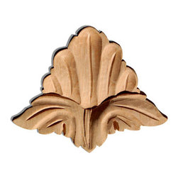 """Inviting Home - Addison Wood Plaque - Cherry - wood carving in cherry 3-3/4""""W x 3-1/4""""H x 1/2""""D Wood carvings are hand carved in deep relief design from premium selected North American hardwoods such as alder beech cherry hard maple red oak and white oak. They are triple sanded and ready to accept stain or paint. Hardwood carvings are perfect for wall applications finishing touches on the custom cabinets or creating a dramatic focal point on the fireplace mantel."""