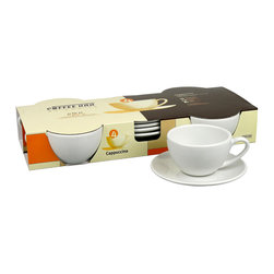 Konitz - Cappuccino Cups and Saucers, Set of 4 - Serve a steaming cup of cappuccino just like the pros. These pure white porcelain pieces are styled just like those in your favorite café so you can enjoy the perfect cup at home.