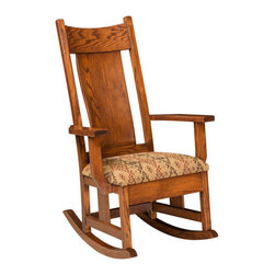 Chelsea Home Furniture - Chelsea Home Burkholder Rocker - Pecan Leather - Chelsea Home Furniture proudly offers handcrafted American made heirloom quality furniture, custom made for you.