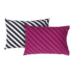 SWENYO - Black and White Stripe and Purple Stripe Pillow Case Set - Same is lame. Our unique pillowcases will add color and personality to any space. Hand-selected by our team of designers, this contrasting pillowcase set has vibrant colors and an incredibly soft feel finished with our signature red SWENYO tag.