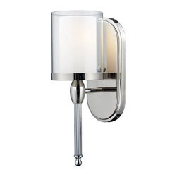 Z-Lite - Z-Lite 1908-1S Argenta 1 Light Wall Sconce - Small in size but not in style, this modern wall mount provides any room with more than just a touch of class and is versatile enough for use as a vanity or for just around the house. The modern double-layered shade consisting of an inner layer of matte opal glass and an outer level of clear glass provide sophistication while the chrome wall mount includes a beautiful crystal column, perfect for providing any room with the ultimate modern look. Specifications: