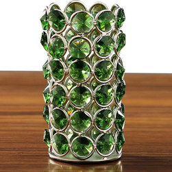 Horizon - Green Crystal Beaded Tealight Holder - Add a beautiful glow and sparkle to your dining table,wedding reception,or event with these crystal tea light holders. This tea light holder features a lovely green color with a silvertone accents.