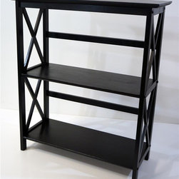 Yu Shan - Furniture Montego 3 Tier Bookcase (Black) - Finish: BlackClassic styling. Simple assembly. Provides storage space. Easy to clean. Warranty: 90 days. Made from solid wood. Assembly required. 29.5 in. W x 12 in. D x 33.5 in. H (20 lbs.)